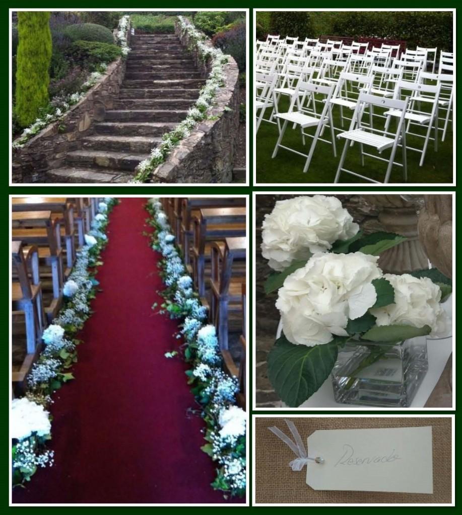 hortensias, hiedra y paniculata en la boda